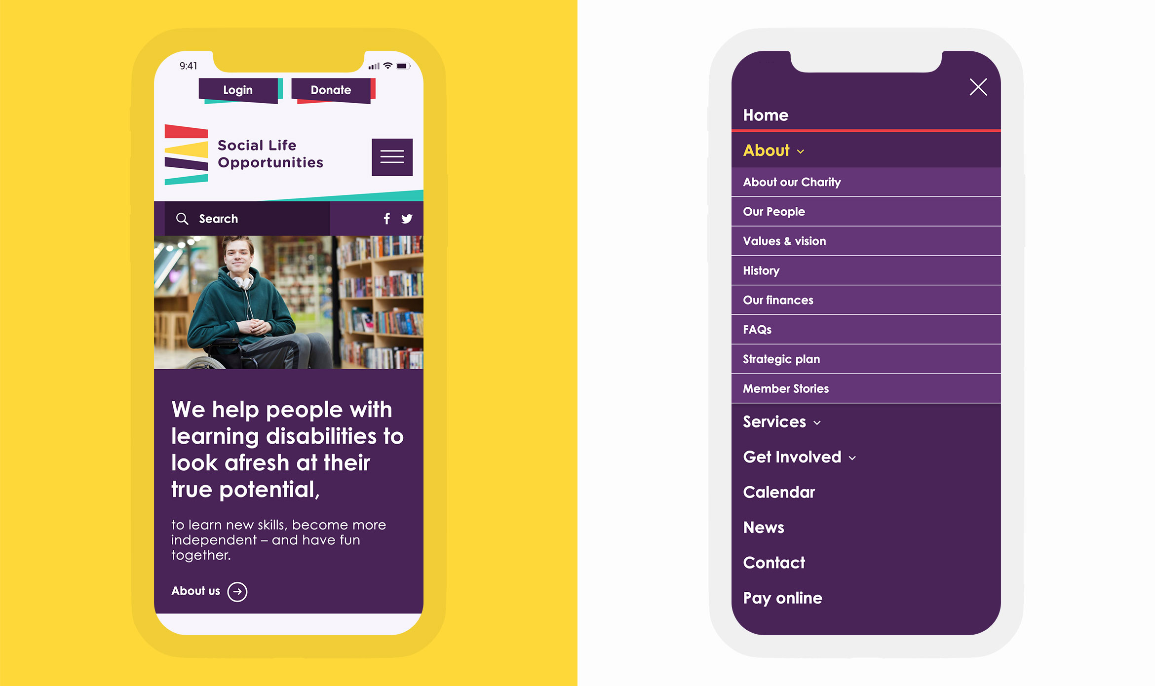 Website design for Social Life Opportunities using accessibility friendly font and navigation designed from the users' perspective.